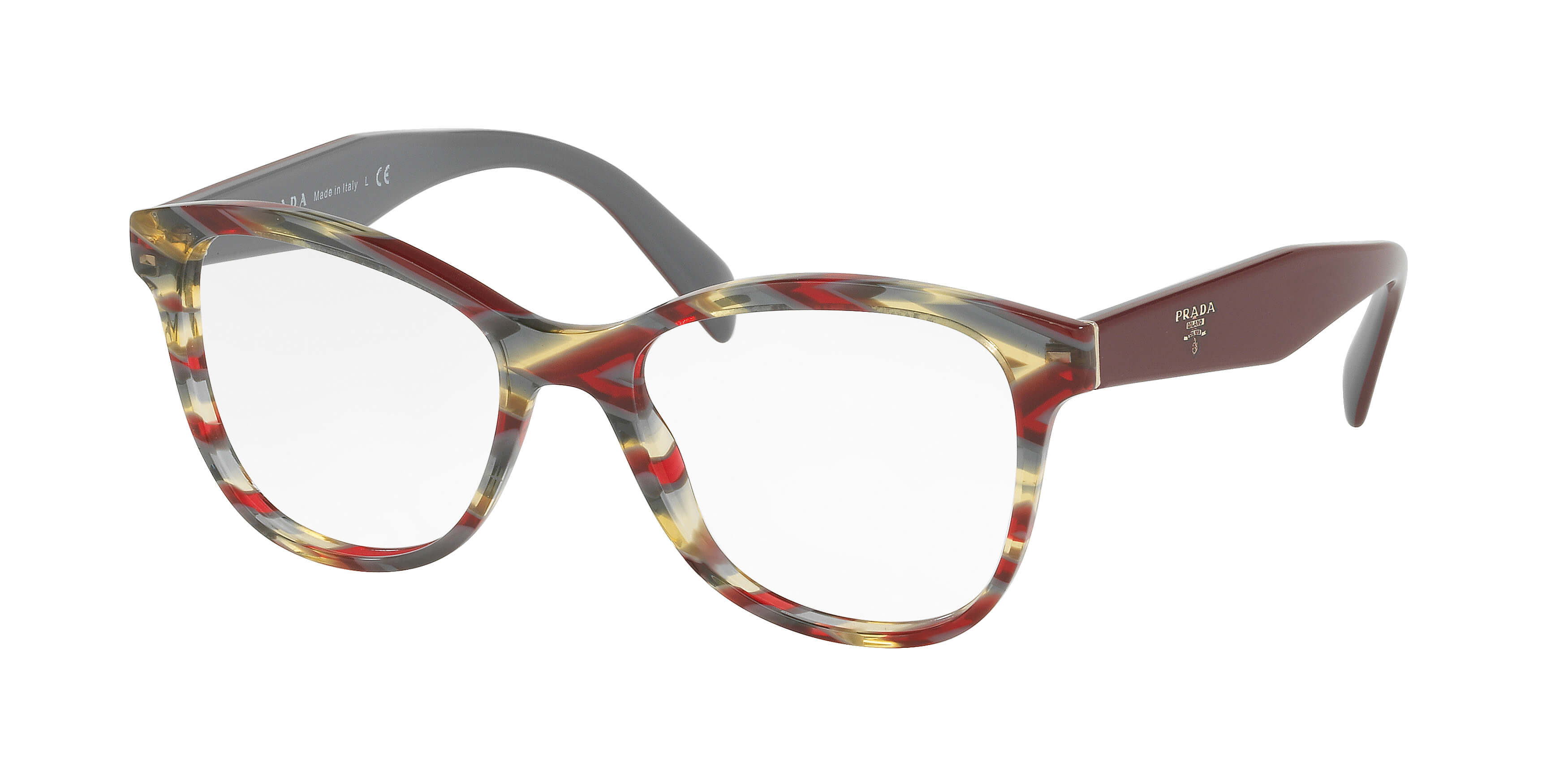 b4fa221b7e6 ... frames featuring geometric temples and the distinctive Prada logo.  Product featured in the campaign is style PR 12TV and is available in  selected stores ...