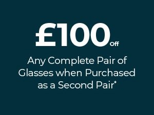 £100 off your 2nd Complete Pair of Glasses